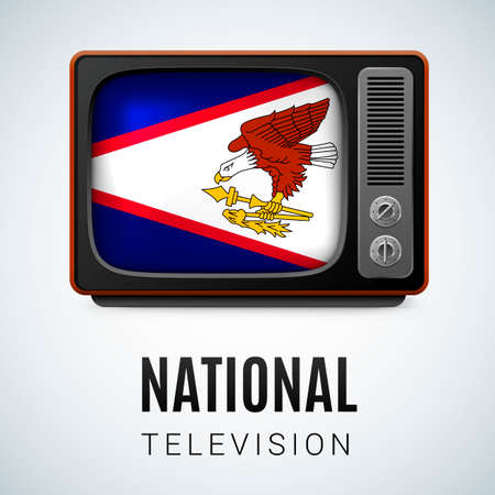 Vintage TV and Flag of American Samoa as Symbol National Television. Tele Receiver with flag design