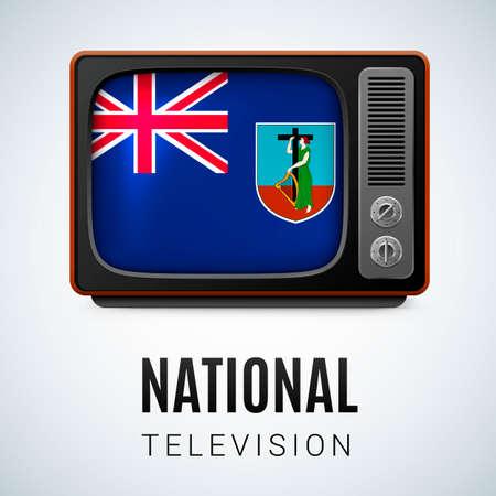 antilles: Vintage TV and Flag of Montserrat Island as Symbol National Television. Tele Receiver with Montserrat Island flag