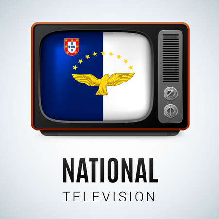 azores: Vintage TV and Flag of Azores as Symbol National Television. Tele Receiver with flag design