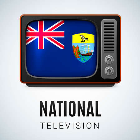 exile: Vintage TV and Flag of Saint Helena as Symbol National Television. Tele Receiver with Saint Helena flag
