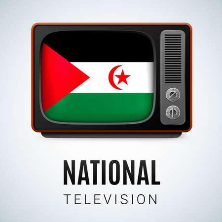 sahrawi arab democratic republic: Vintage TV and Flag of Sahrawi Arab Democratic Republic as Symbol National Television. Tele Receiver with flag design