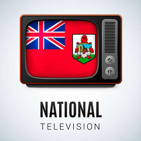 Vintage TV and Flag of Bermuda as Symbol National Television. Tele Receiver with flag design