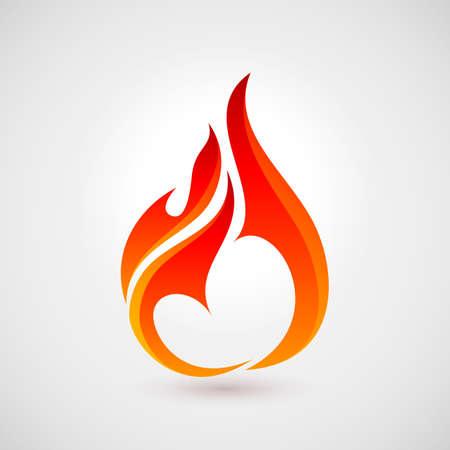 Fire Flames in Heart Shape. Logo Design Template. Icon Illustration for Design