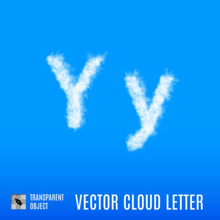 Clouds in Shape of the Letter Y on Blue Background Illustration