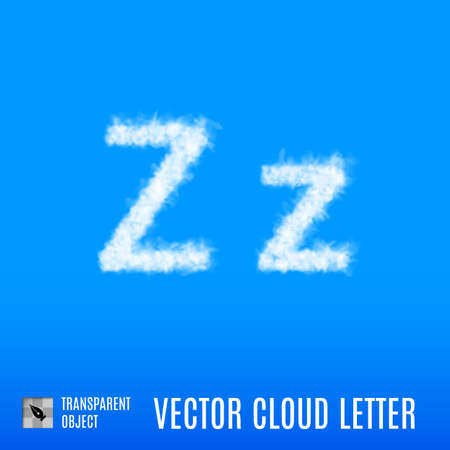 uppercase: Clouds in Shape of the Letter Z on Blue Background Illustration