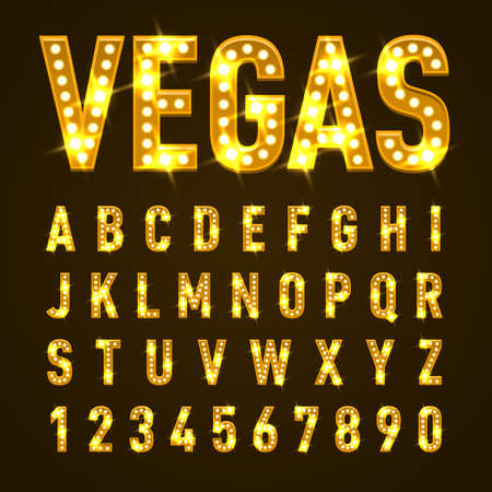 Retro Volumetric Signboard Letters with Yellow Light Bulbs Vettoriali