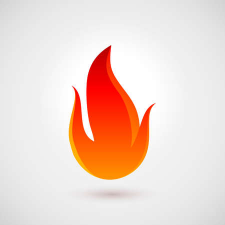 Fire Icon in Trendy Flat Style with Shadow. Illustration for Web Site Design Illustration