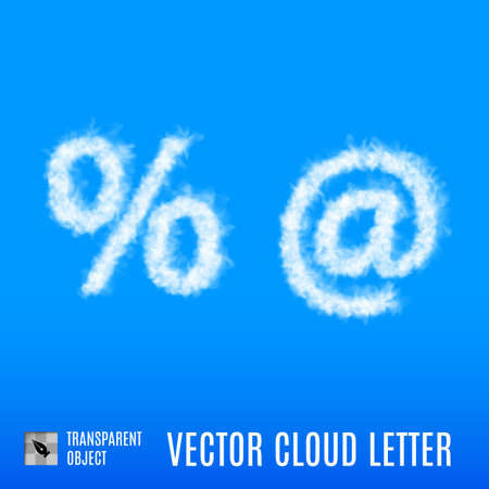 Clouds in Shape of the Per Cent and At Sign on Blue Background