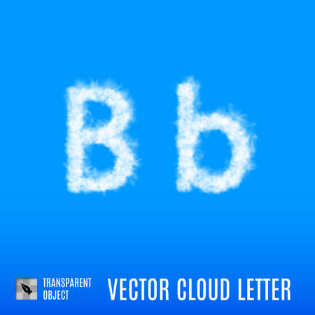 Clouds in Shape of the Letter B on Blue Background