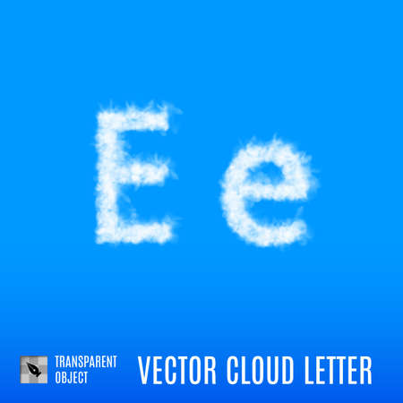 uppercase: Clouds in Shape of the Letter E on Blue Background Illustration