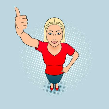 Cartoon Illustration d'une jeune femme qui donne un coup de pouce Vecteurs