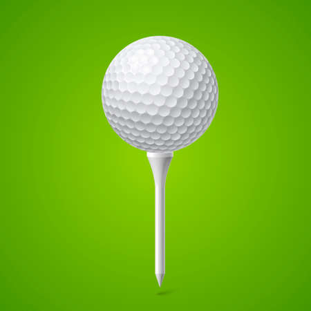 Golf Ball on a White Tee. Illustration on Green Background Illustration