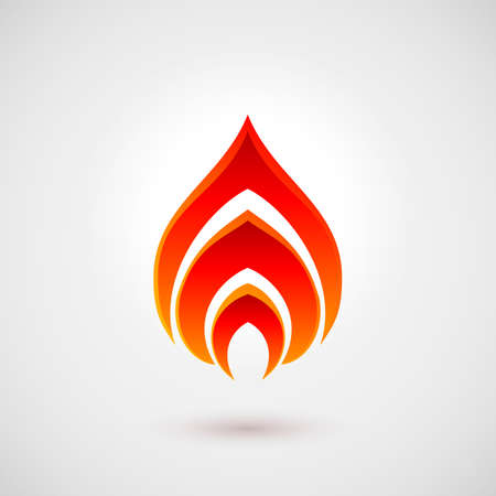 Abstract Symbol of Fire Flames. Logo Design Template Over Gray Background