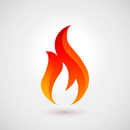 Fire flames. Logo Design Template. Icon Illustration Over Gray Background