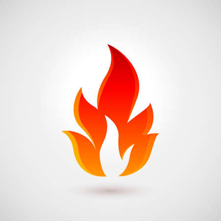 flammable warning: Fire flames. Icon Illustration Over Gray Background Illustration
