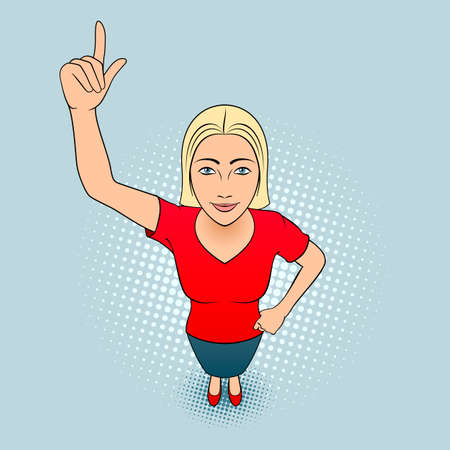 Cartoon Illustration of a Young Woman Pointing Her Finger Up Illustration