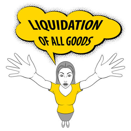 Young Woman Opens His Arms. Meeting, Welcome Concept. Liquidation of All Goods Illustration