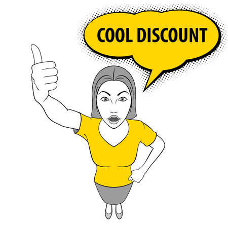 Illustration of Woman Giving a Thumbs Up. Cool Discount