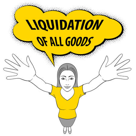 girl mouth open: Young Woman Opens His Arms. Liquidation of All Goods