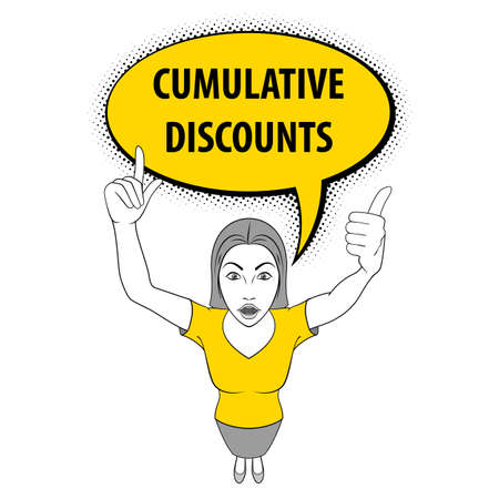 Illustration of a Woman Pointing Her Fingers Up. Cumulative Discount