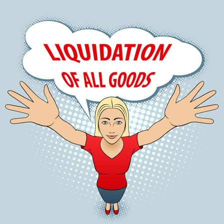 Young Woman in Red Blouse Opens His Arms. Liquidation of All Goods.