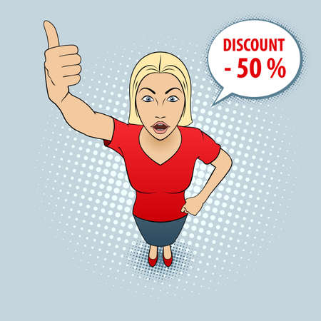 Illustration of a Cute Young Woman in Red Blouse Giving a Thumbs Up. Discount.