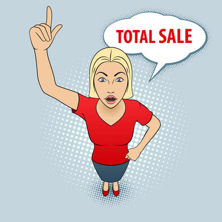 Illustration of a Young Woman in Red Blouse Pointing Her Finger Up. Total Sale.