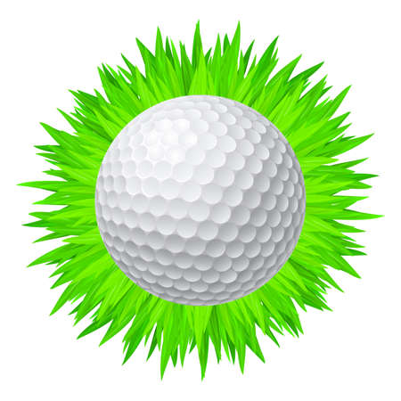 The Ball for the Game of Golf on the Grass. Logo Concept
