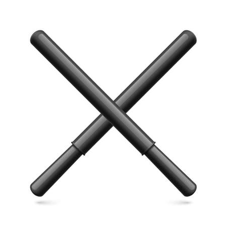 Cartoon Illustration of Long Black Rubber Batons. Police Sticks