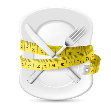 Plate with Measuring Tape and Crossed Fork and Knife. Illustration on White Illustration