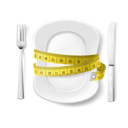 lose balance: Plate with Knife, Fork and Measure Tape. Illustration on White Illustration