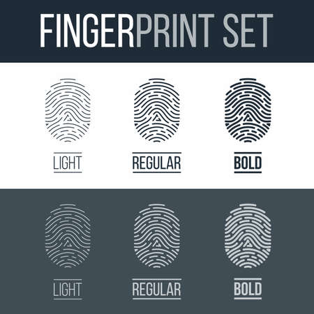 fingermark: Fingerprints Icons Set for Identity Person on Dark and White Background
