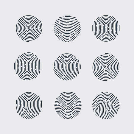 fingermark: Round Fingerprint Patterns for Identity Person Security ID on Gray Background for Design