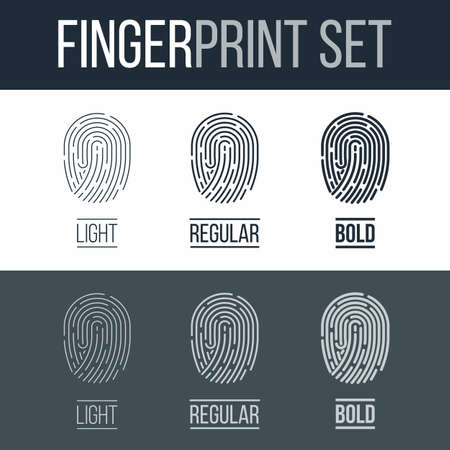 fingermark: Fingerprints icons Set for Identity Person Security ID on Dark and White Background Illustration