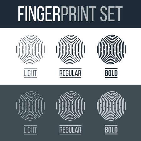 Abstract Fingerprint Icons Set, Future Identification Authorization System on Dark and White Background Illustration