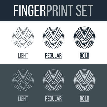 fingermark: Fingerprints Set Print for Identity Person on Dark and White Background Illustration