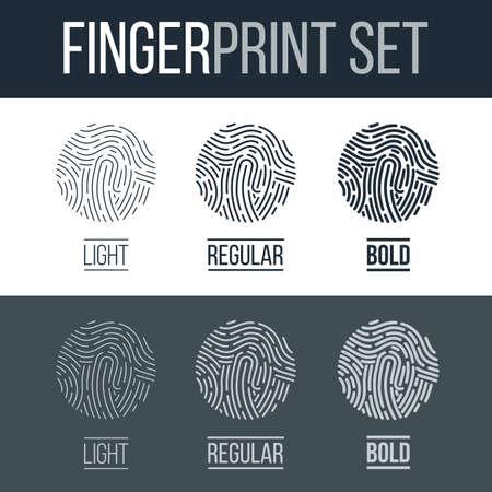 fingermark: Biometric Fingerprints Set Print for Security ID on Dark and White Background