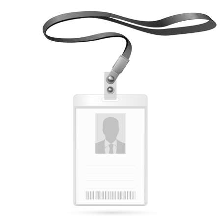 Realistic Vertical Blank Bagde with Ribbon. Identification Card Template Illustration