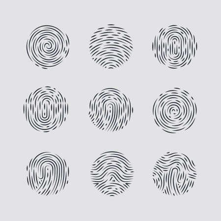 autograph: Abstract Round Fingerprint Patterns for Identity Person Security ID on Gray Background for Design Illustration