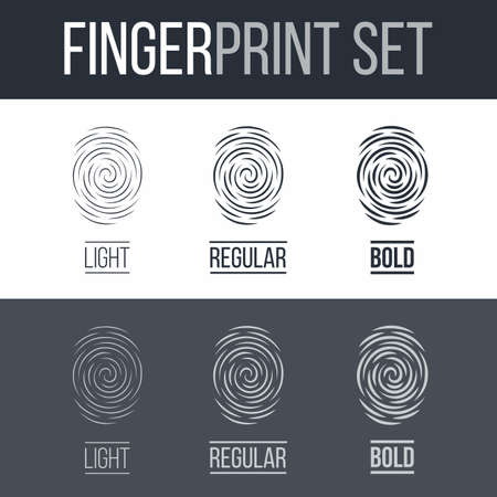 Abstract Fingerprints Set Print for Identity Person on Dark and White Illustration
