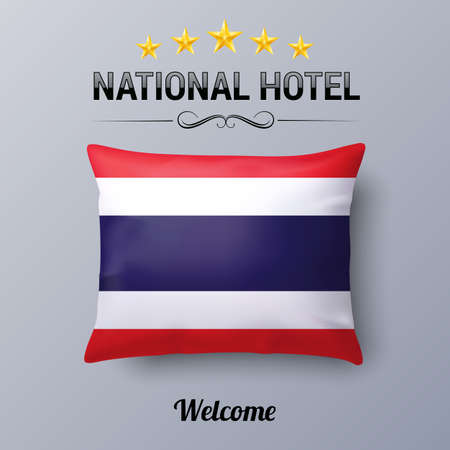 thai culture: Realistic Pillow and Flag of Thailand as Symbol National Hotel. Flag Pillow Cover with Thail flag