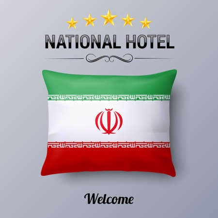 Realistic Pillow And Flag Of Iran As Symbol National Hotel Flag