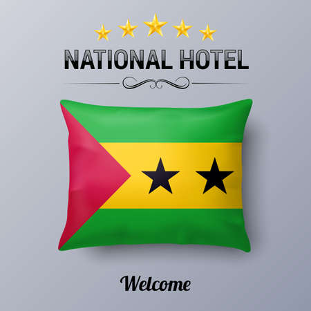 french culture: Realistic Pillow and Flag of Sao Tome and Principe as Symbol National Hotel. Flag Pillow Cover with flag design