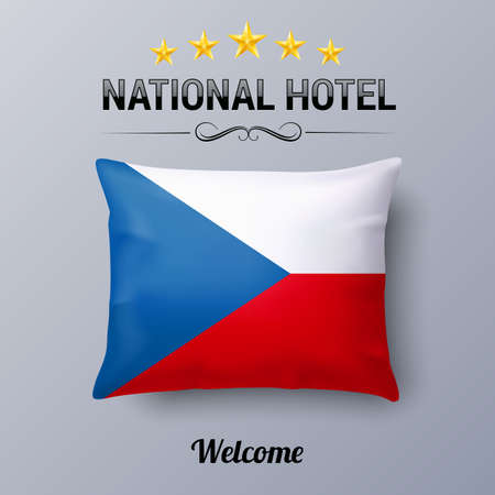 european culture: Realistic Pillow and Flag of Czech Republic as Symbol National Hotel. Flag Pillow Cover with Czech flag