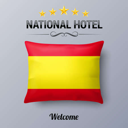 Realistic Pillow and Flag of Spain as Symbol National Hotel. Flag Pillow Cover with Spanish flag