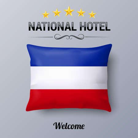 former yugoslavia: Realistic Pillow and Flag of Yugoslavia as Symbol National Hotel. Flag Pillow Cover with Yugoslavian flag