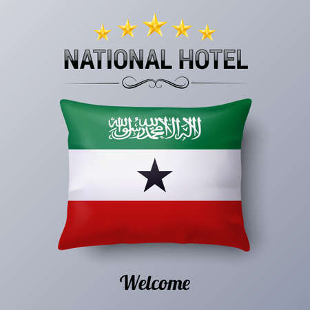 somaliland: Realistic Pillow and Flag of Somaliland as Symbol National Hotel. Flag Pillow Cover with flag colors