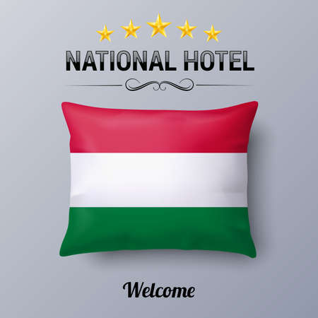european culture: Realistic Pillow and Flag of Hungary as Symbol National Hotel. Flag Pillow Cover with Hungarian flag