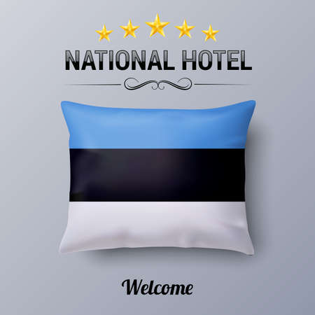 european culture: Realistic Pillow and Flag of Estonia as Symbol National Hotel. Flag Pillow Cover with Estonian flag