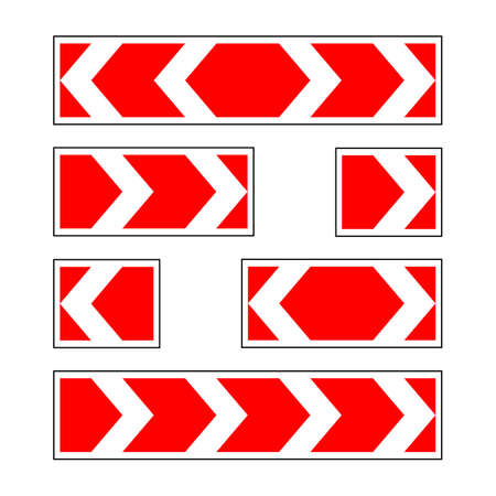 Illustration of Warning Traffic Sign Red and white stripped arrow. Road sign isolated on white background